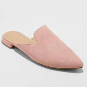 Velma Slip On Pointy Toe Mules, Pink Suede 8.5W